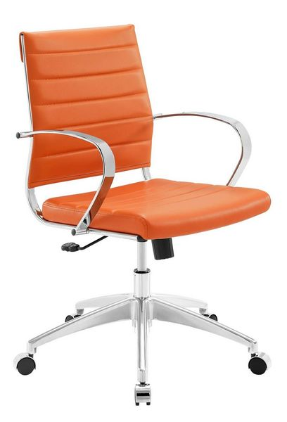Jive Orange PU Leather Mid Back Office Chair by Modway