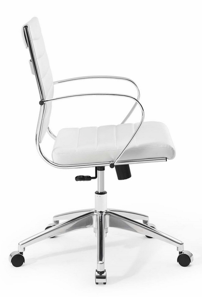 Jive White PU Leather Mid Back Office Chair by Modway