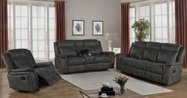 Lawrence 3-Pc Charcoal Manual Recliner Sofa Set by Coaster