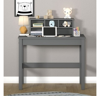 Logan Gray Wood Writing Desk With Hutch By Acme