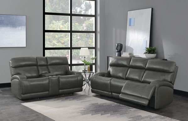 Longport 2-Pc Charcoal Leather Power Recliner Sofa Set by Coaster