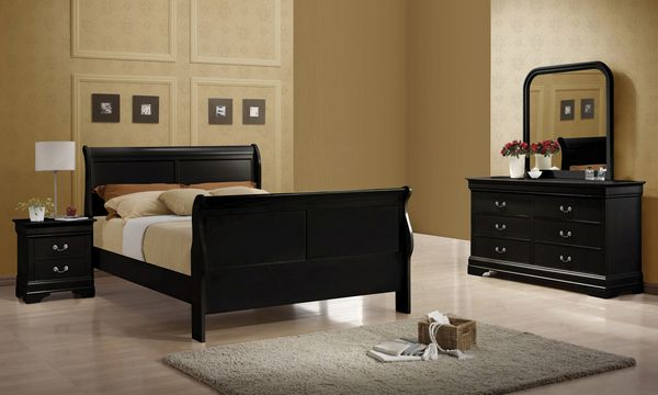 Louis Philippe 4-Pc Black Wood Full Bedroom Set by Coaster