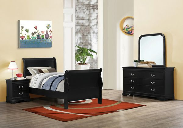 Louis Philippe 4-Pc Black Wood Twin Bedroom Set by Coaster