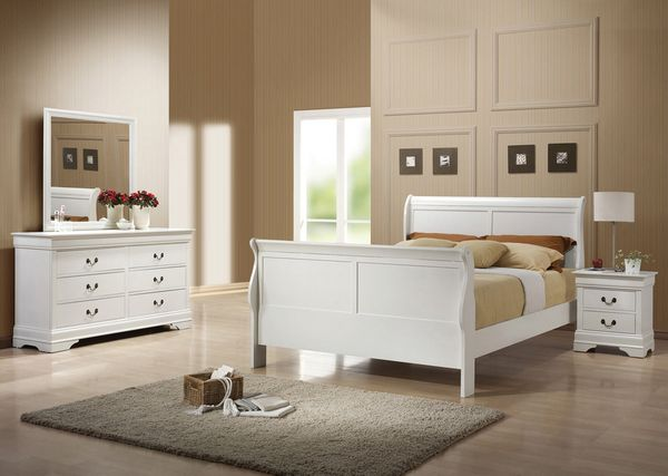 Louis Philippe 4-Pc White Wood Full Bedroom Set by Coaster