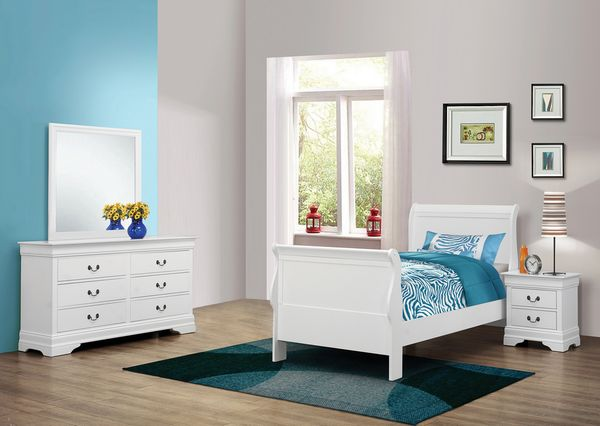 Louis Philippe 4-Pc White Wood Twin Bedroom Set by Coaster