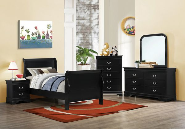 Louis Philippe 5-Pc Black Wood Twin Bedroom Set by Coaster