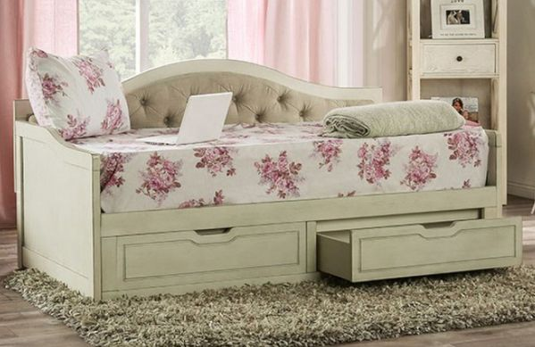 Maureen Antique White Wood Twin Daybed by Furniture of America