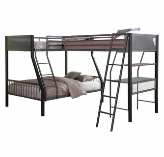Meyers Black Charcoal Metal Twin Full Twin Triple Bunk Bed By Coaster