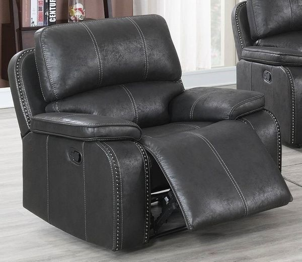 Minea Black Leather-Like Fabric Power Recliner by Poundex