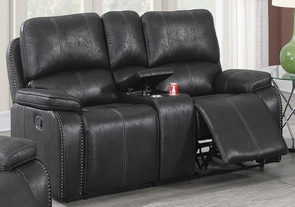 Minea Black Leather-Like Fabric Power Recliner Loveseat by Poundex