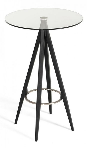 Modrest Dallas Clear Glass/Black Metal Bar Table by VIG Furniture