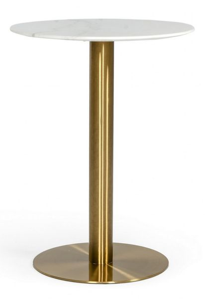 Modrest Fairway White Marble/Gold Metal Bar Table by VIG Furniture