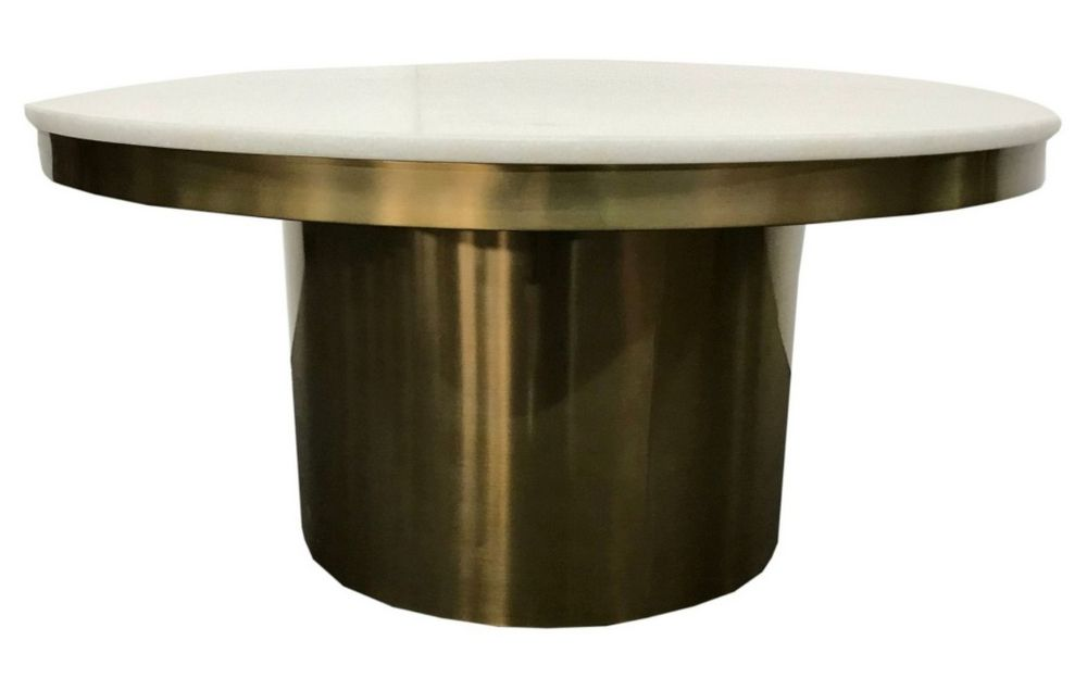 Modrest Rocky White Stone Gold Metal Coffee Table By Vig Furniture