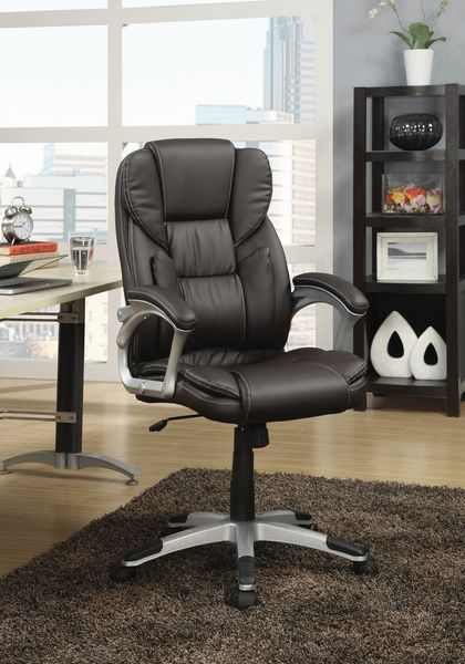 Montse Dark Brown Leatherette Adjustable Office Chair by Coaster