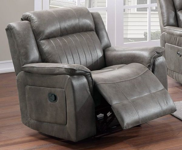 Muriel Slate Blue Breathable Leatherette Manual Recliner by Poundex