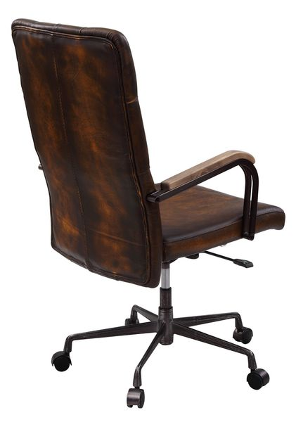 Noknas Brown Leather/Metal Office Chair by Acme