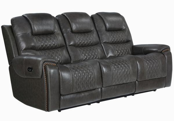 North 2-Pc Charcoal Leather Dual Power Recliner Sofa Set by Coaster