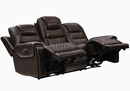 North 2-Pc Dark Brown Leather Dual Power Recliner Sofa Set by Coaster