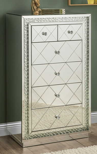 Nysa Mirrored 6-Drawer Accent Cabinet by Acme