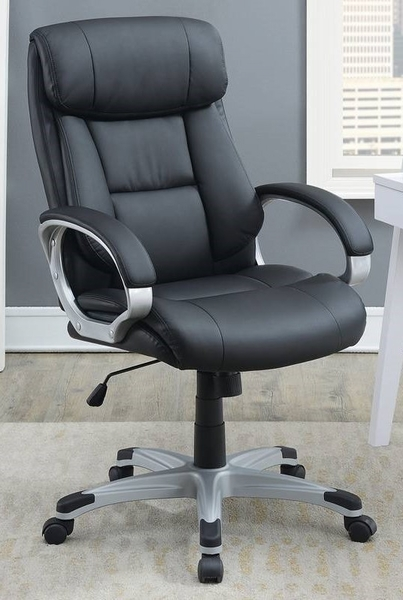 Odalis Black Faux Leather Adjustable Office Chair by Poundex