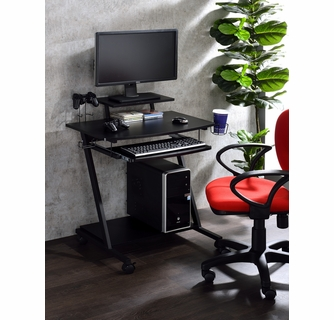 Ordrees Black Wood Metal Gaming Table With Keyboard Tray By Acme