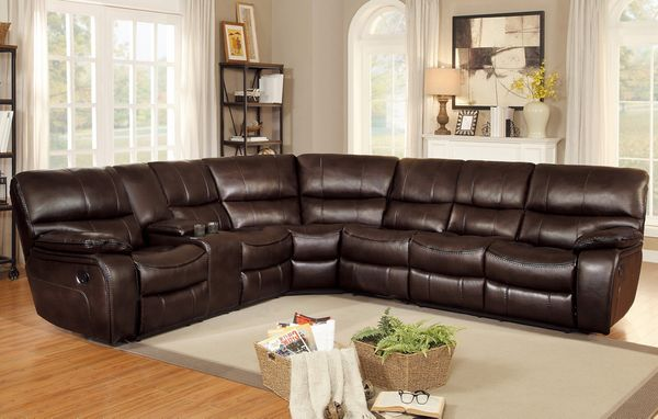 Pecos 4-Pc Dark Brown Manual Recliner Sectional Sofa by Homelegance