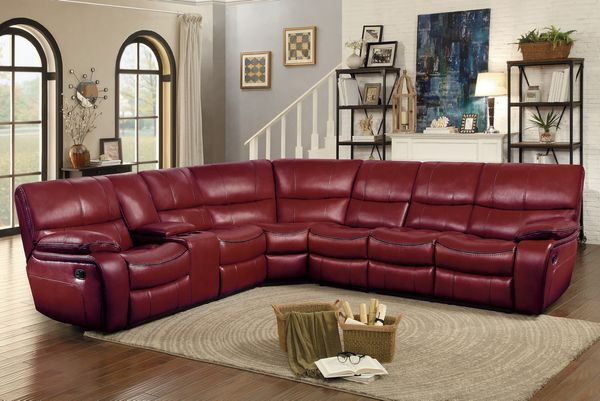 Pecos 4-Pc Red Manual Recliner Sectional Sofa by Homelegance