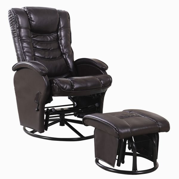 Ezra Brown Leatherette Manual Glider Recliner with Ottoman by Coaster