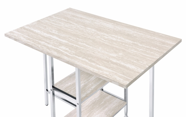 Raine Antique White Wood/Chrome Metal Counter Hight Table by Acme