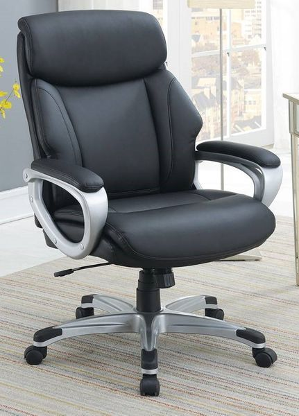 Randi Black Faux Leather Adjustable Office Chair by Poundex