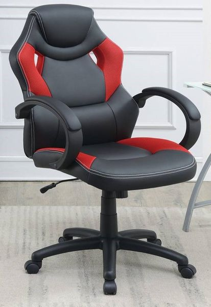 Reilly Black & Red Faux Leather Gaming Chair by Poundex