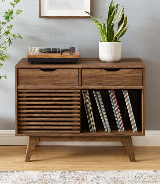 Render Walnut Wood 2-Drawer Vinyl Record Display Stand by Modway