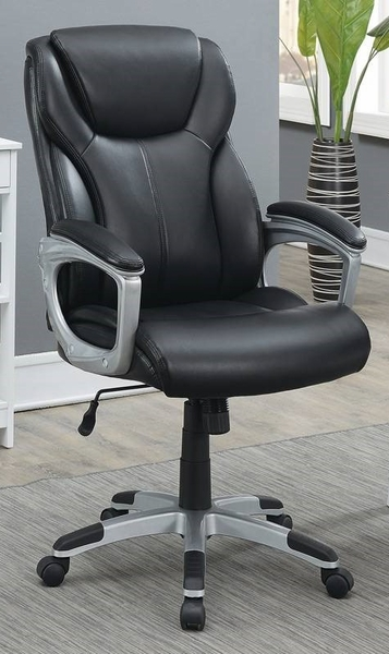 Rigmor Black Faux Leather Office Chair by Poundex