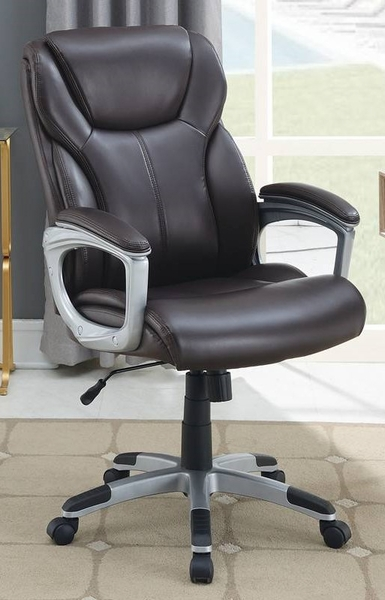 Rigmor Brown Faux Leather Office Chair by Poundex