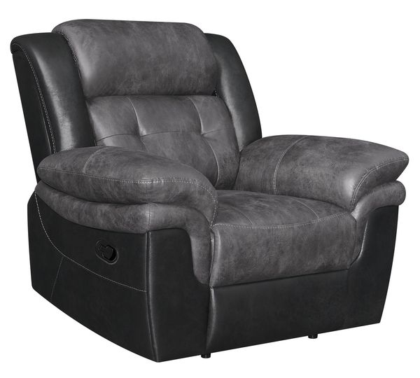 Saybrook Charcoal/Black Manual Recliner by Coaster