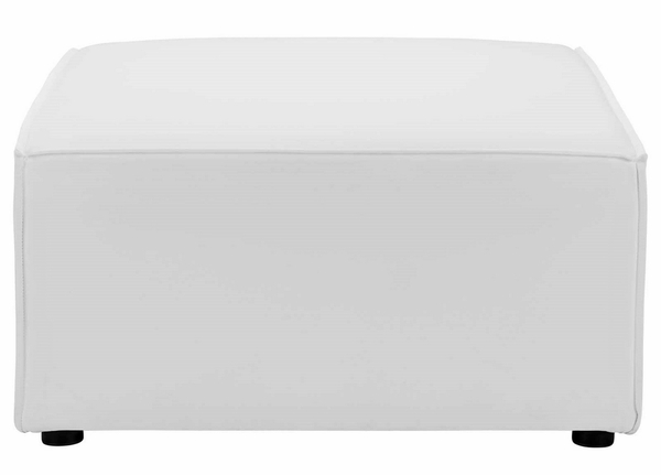 Saybrook White Fabric Outdoor Patio Ottoman by Modway
