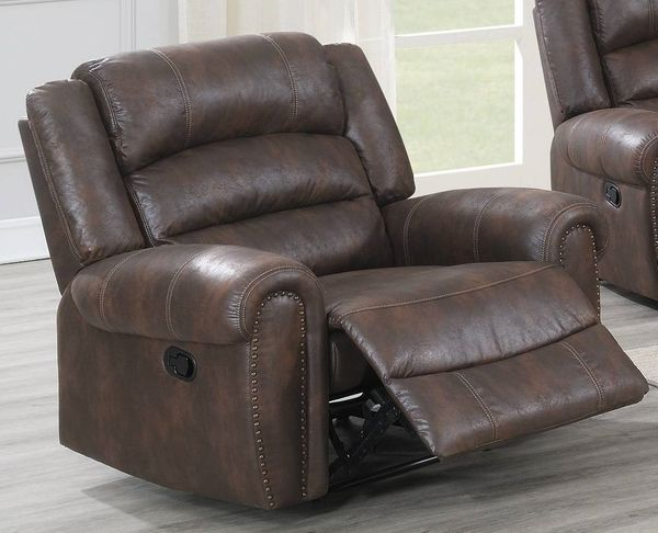 Selene Chocolate Leather-Like Fabric Manual Recliner by Poundex