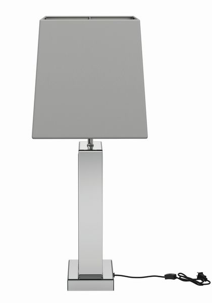 Selene White, Silver/Fabric, Glass Table Lamp by Coaster