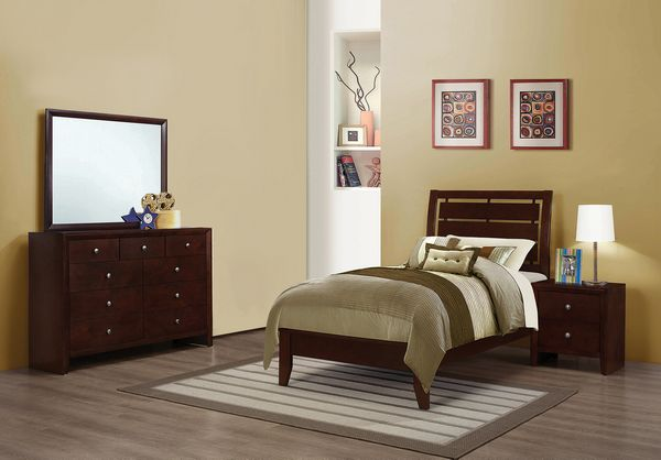 Serenity 4-Pc Rich Merlot Wood Twin Bedroom Set by Coaster