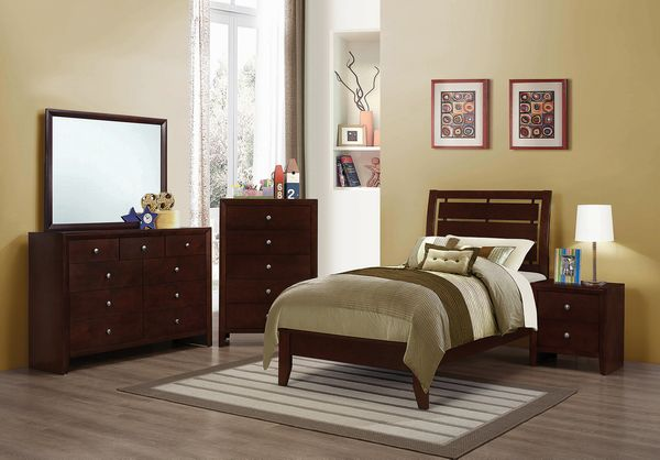 Serenity 5-Pc Rich Merlot Wood Twin Bedroom Set by Coaster