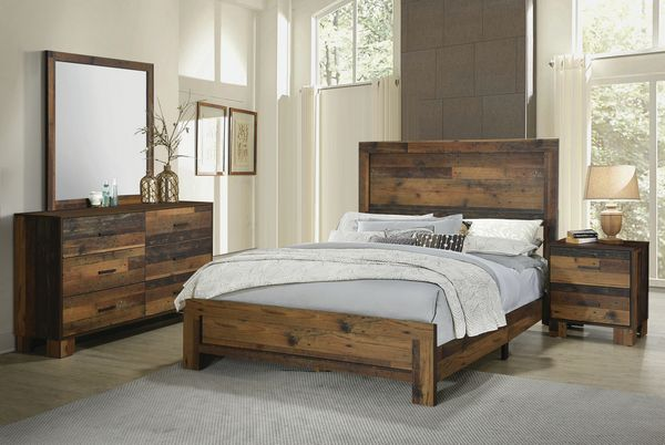 Sidney 4-Pc Rustic Pine Wood Twin Panel Bedroom Set by Coaster
