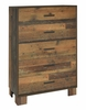 Sidney 5-Pc Rustic Pine Wood Twin Panel Bedroom Set by Coaster