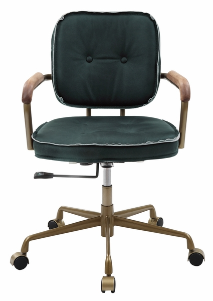 Siecross Emerald Green Leather/Metal Office Chair by Acme