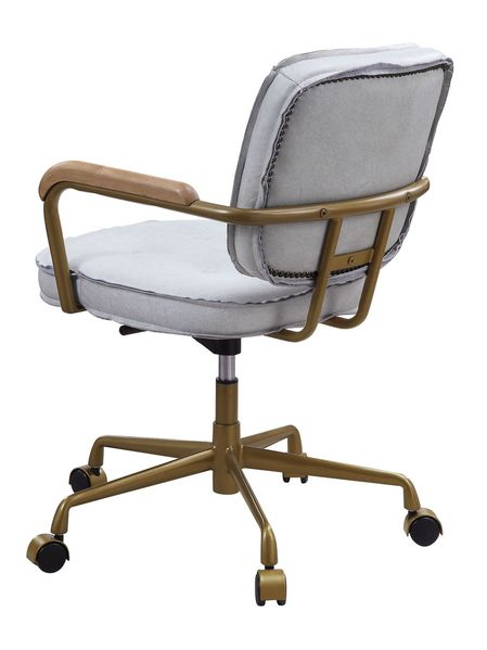 Siecross Vintage White Top Grain Leather Office Chair by Acme