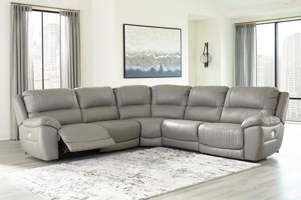 Signature Design Dunleith 5-Pc Gray Power Recliner Sectional by Ashley