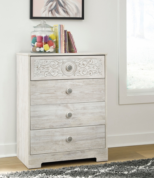 Signature Design Paxberry Whitewash Wood 4-Drawer Chest by Ashley