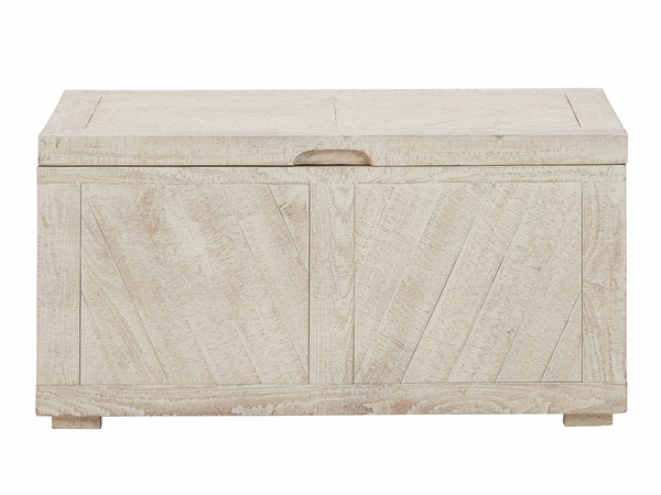 Signature Design Ryker Distressed White Wood Storage Trunk by Ashley