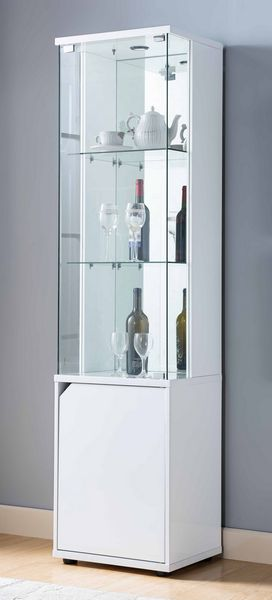 Silvia Glossy White Wood/Clear Glass Curio with LED Light by ID USA