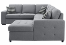 Solomon 4-Pc Gray Fabric RAF Sectional w/ Pull-Out Bed by Homelegance
