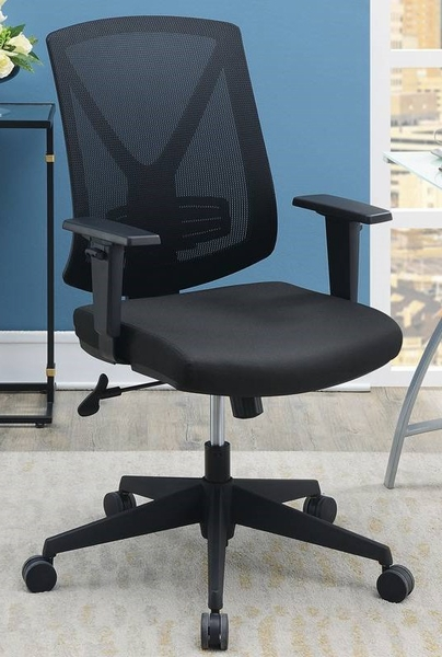 Sorne Black Mesh Adjustable Office Chair w/ Arms by Poundex